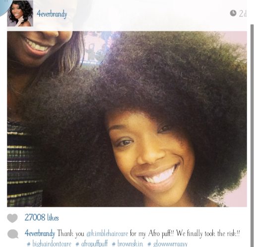 Brandy and her afro